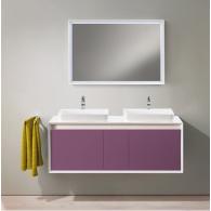 Комплект мебели для ванной комнаты Валенсия 140 (белый/лиловый) BELUX