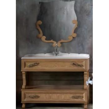 """Комплект мебели для ванной комнаты Вена 105 (дуб молочный, массив/шпон) BELUX с умывальником """" Клевер - 110"""""""