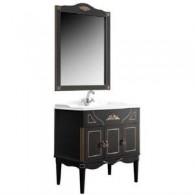 """Комплект мебели для ванной комнаты Верди Н 85 (черный матовый/золотая патина) BELUX с умывальником """"Клевер 85"""""""