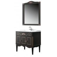 """Комплект мебели для ванной комнаты Верди Н 105 (черный матовый/золотая патина) BELUX с умывальником """"Клевер 105"""""""