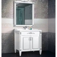 """Комплект мебели Империя 105 (64 - белый матовый/патина серебро) BELUX с умывальником """"Клевер 105"""""""