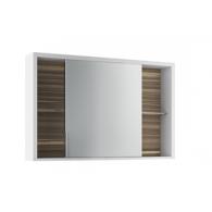 Шкаф зеркальный Белль 100, белый с макассаром EFP