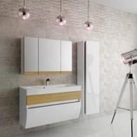 Комплект мебели Маджика/Magica EFP 100 (с 2/ящ., ум. Прима 80), белый с дубом