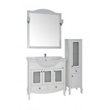 """Комплект мебели для ванной """"Флоренция 105"""" витраж, массив ясеня, цвет белый/патина серебро"""