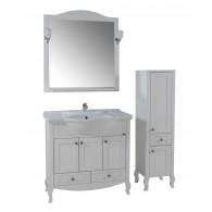 """Комплект мебели для ванной """"Флоренция 105"""" массив ясеня, цвет белый/патина серебро"""
