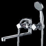 Смеситель для ванны и душа с длинным изливом 350 мм. Gross Aqua 7016084С-35L(F) FORMA