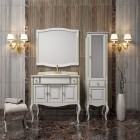 Комплект мебели для ванной комнаты ЛАУРА 100 (белый с бежевой патиной) Opadiris столешница натуральный мрамор
