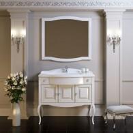 Комплект мебели для ванной комнаты ЛАУРА 100 белый без патины Opadiris (раковина из литьевого мрамора)