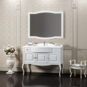 Комплект мебели для ванной комнаты ЛАУРА 120 белый без патины Opadiris (раковина из литьевого мрамора)
