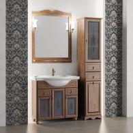Комплект мебели для ванной комнаты ТИБЕТ 85 Opadiris (орех антикварный) витраж
