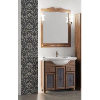 Комплект мебели для ванной комнаты ТИБЕТ 80 Opadiris (орех антикварный) витраж
