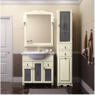 Комплект мебели для ванной комнаты ТИБЕТ 85 Opadiris (слоновая кость) витраж