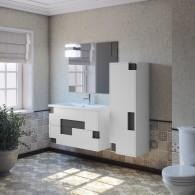 Комплект мебели для ванной комнаты Smile Санторини 100 (белый/серый)